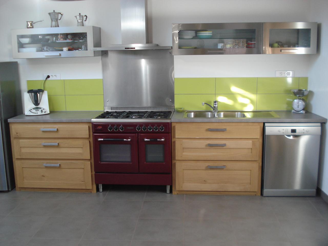 Réalisation de 2 meubles de cuisine en chêne, plateau en stratifié